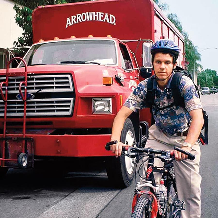 Daniel Kish, who is blind, riding a bike