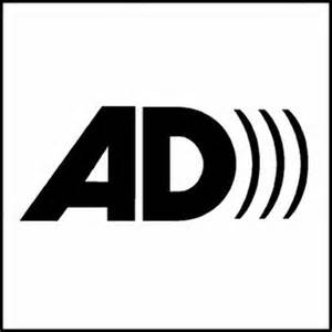 Audio Description logo - stylized bold black AD with three curved volume waves after it.