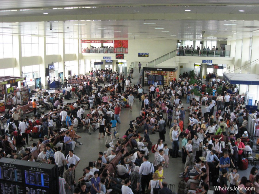 A crowded airport terminal