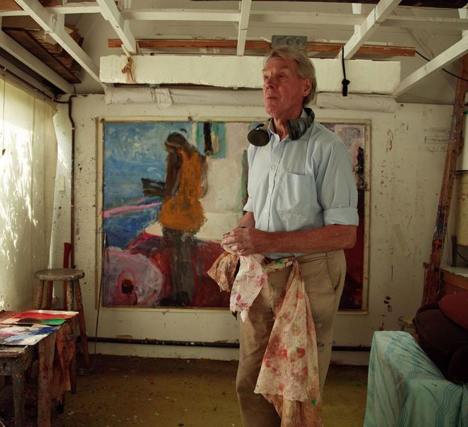 Sargy Mann, totally blind, stands to the right of one of his highly successful paintings