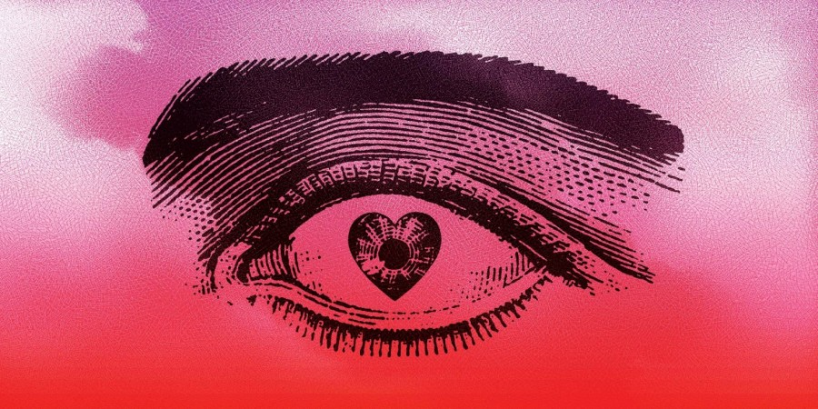 Drawing of an eye with a heart-shaped pupil on a bright pink background.